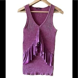 T Party rhinestone ribbed purple tank top small